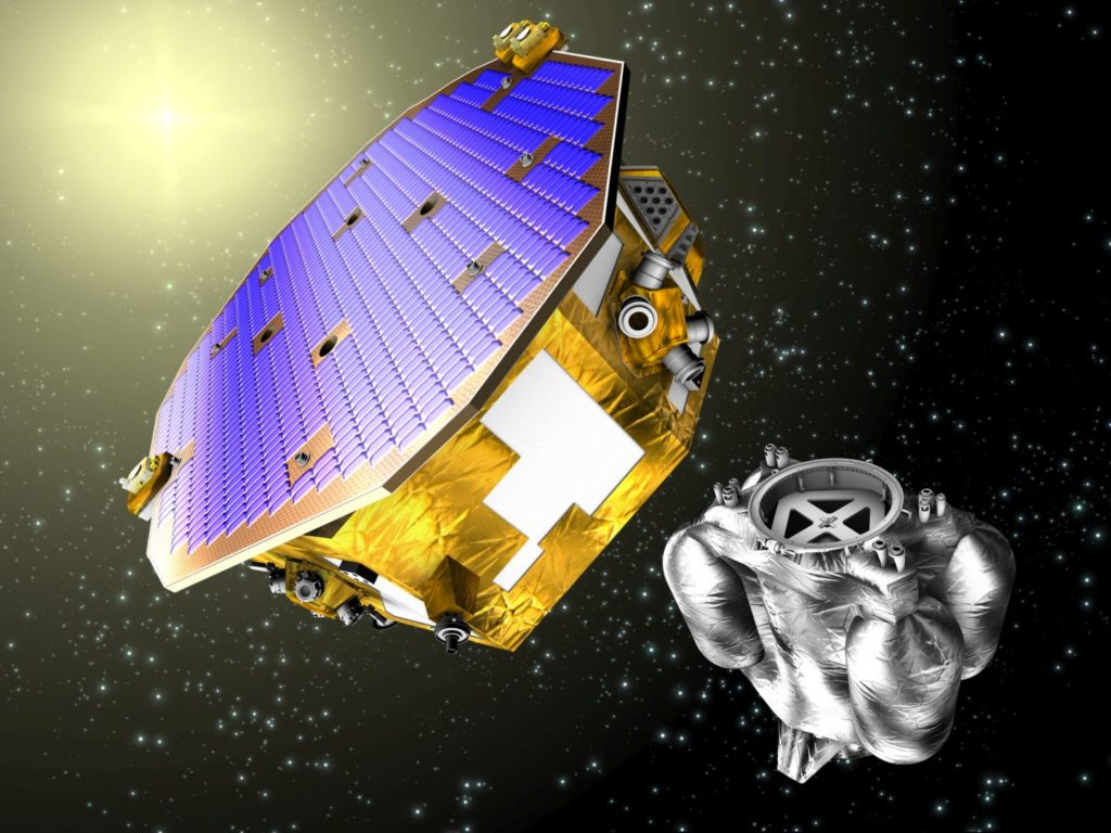 The LISAPathfinder spacecraft separates from its propulsion module as it arrives at its destination orbit located at the L1 Lagrange point.